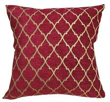 Wd26Ba Gold on Red Damask Chenille Check Throw Cushion Cover/Pillow Case *Size