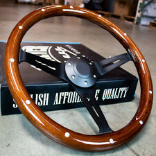 "15"" Matte Black Steering Wheel Dark Stained Wood Grip with Rivets - FACTORY 2ND"