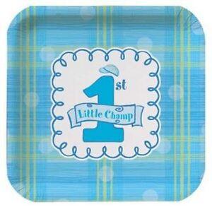 Boys 1st Birthday Blue Small PLATES + NAPKINS + CUPS SET 32 pieces