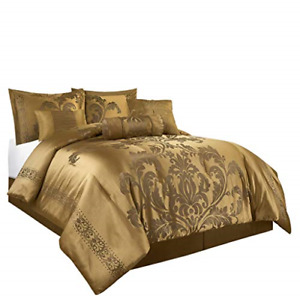 Chezmoi Collection Royale 7-Piece Jacquard Floral Comforter Set Full, Gold