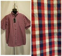 New Roundtree&Yorke Men's Size XLarge Button Down Red Plaid Short Sleeve Shirt