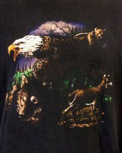 vtg 90s retro Faded Worn Distressed Bald Eagle T-Shirt Nature Deer Animal XXL