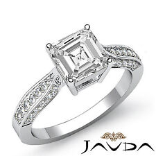 Asscher Diamond Cathedral Pave Engagement Ring GIA G SI1 14k White Gold 1.4ct