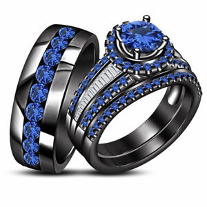 14K Black Gold Finish Blue Sapphire Wedding His And Her Trio Bridal Ring Set