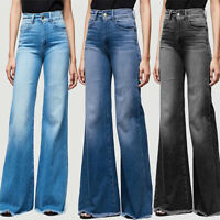 Women's Ladies Ripped High Waisted Wide Leg Denim Flare Jeans Pants Bell Bottoms