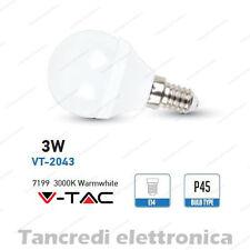 Lampadina led V-TAC 3W = 25W E14 bianco caldo 3000K VT-2043 miniglobo P45 bulbo