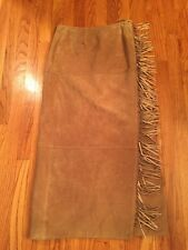 Telluride Clothing Co Beige 100% Suede Leather Fully Lined Fringed Wrap Skirt 10