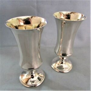 PAIR OF HALLMARKED SILVER GUILT LINED SHERRY GOBLETS BY PHV & Co DATED 1971
