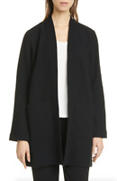 Eileen Fisher Black Textured Open Front Long Jacket Women's Size XL 83868