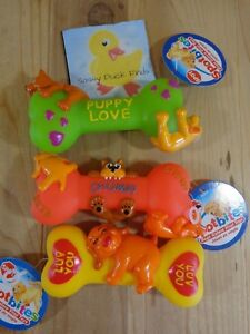 SQUEAKY DOG TOY Vinyl Plastic Puppy Bone Spot Bites Squeeze ONE YOU PICK COLOR