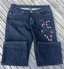 Cropped Jeans 8 x 31/32 on Tag Dark Wash Embroidered Left Leg Straight Bogari