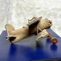 Vintage Biplane Model in Soft Leather Hand Made Replica