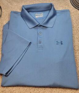 UNDER ARMOUR HEATGEAR-Cadet Blue Perform.Poly, Mens SS/3B, Summer Golf Shirt-(L)