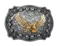 Boucle de ceinture aigle royal doré sur plaque en étain.