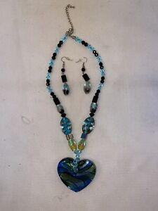 Vtg Glass Bead Flower Floral LARGE BIG HEART Necklace DROP Earrings Set