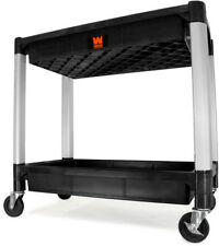 Tool Utility Cart 300 lbs. Capacity 32 x 18.5 in. Double Decker Service 2 Tray
