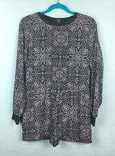 Asos Grey Tile Print Long Sleeve Crew Neck Playsuit Size 8 - B16