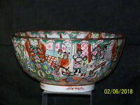 """Antique Chinese Rose Medallion """"Large"""" Hand Painted Reign Mark Footed Bowl"""