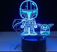 BABY YODA Mandalorian 3D LED Star wars Luce Notturna Night DISNEY