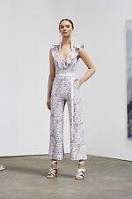 NWT ZIMMERMANN Empire Flute Printed Linen Jumpsuit | Rosewater | Sz 0 XS