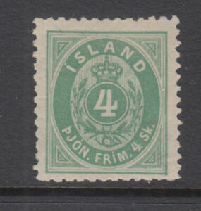 Iceland Sc O3 Numeral 4 Sk Green Official VF Mint Light Hinged