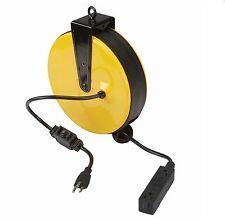 Retractable Cord Reel 30ft, Triple Tap, Garage Organization Tool
