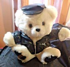 "Dan Dee white Teddy Precious large 13"" white bear black motorcycle jacket hat"