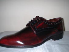 MENS LONDON BROGUES BRUNE BORDO POLISHED LEATHER DERBY SHOES 9/43 rrp 89.99