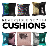 Reversible Two Tone Sequin cushion Pillow for Sofa Bed Home Decor