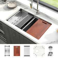 "Sinber 33"" 16 Gauge 304 Stainless Steel Double Bowl Undermount Kitchen SInk 8PCS"