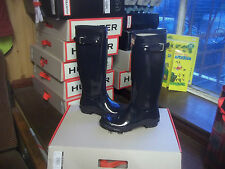 NAVY BLUE GLOSS HUNTER WELLINGTONS WELLIES IN HALIFAX SIZE 8 LADIES TALL WOMENS