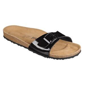 Joe n Joyce Sandal Cork High-Heeled Comfort Footbed Black Patent