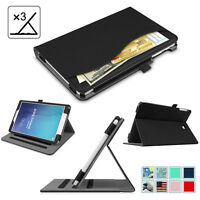 For Samsung Galaxy Tab E 9.6 / 8.0 Case Multi-Angle View Stand Cover w/ Pocket