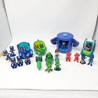 19 Piece PJ Masks Toy Lot Cat Boy Gekko Owlette Romeo Night Ninja Connor Vehicle