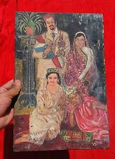 VINTAGE OIL CANVAS PAINTING OF A PROSPEROUS ISLAMIC FAMILY ETHNIC WEAR,SIGNED