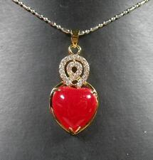 Gold Plate Red JADE Pendant Love Heart Cabochon Diamond Imitation 279575
