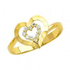 14K Solid Yellow Gold Solitaire Heart CZ Fancy Lady's Women's Ring