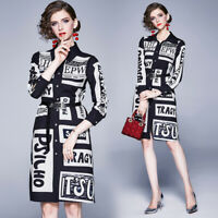 Spring Summer Fall Runway Vintage Letter Print Collar Belt Women Midi Maxi Dress
