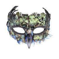Elegant Peacock Bird Blue Faux Masquerade Halloween Costume Feather Eye Mask
