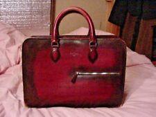 RARE VINTAGE Berluti PARIS Leather Briefcase Burgundy Red 2 SIDE WIDE