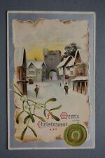 R&L Postcard: Greetings, Christmas, Embossed Davidson Bros, English Village