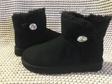 UGG Classic Mini Bailey Button Bling Black Suede Fur Boots Size 10 Womens
