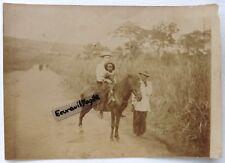 PHOTO CAMEROUN  femme à cheval et enfant noir colonie allemande Afrique timbres