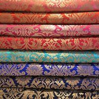 "Indian Floral gold metallic banarsi brocade faux silk fabric 44"" Wide M692"