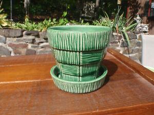 """Vintage McCoy Pottery Hunter Green Basket Weave 4"""" Flower Pot Planter w/ Saucer"""