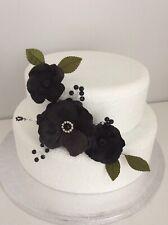 Flores de boda Cake Topper para Decoración de Pasteles Negro Flor Spray pastel de bodas