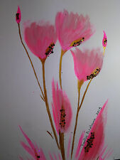 Pink Tulips :: ORIGINAL PAINTING Acrylic, Gold, POP MEXICAN FOLK ART, Mordern