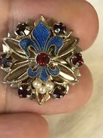 Vintage Fleur de Lis Guilloche Enamel and Gold Tone Pin Brooch