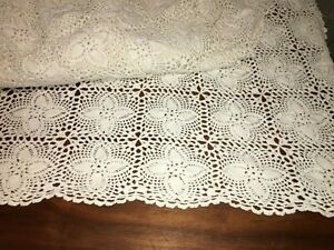 Vintage Bohemian Ivory Hand-Crochetted King Size Bedspread Coverlet