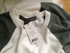 NWT French Connection BabySoft Colour Block White Grey Crew Sweater L 78ISC $168